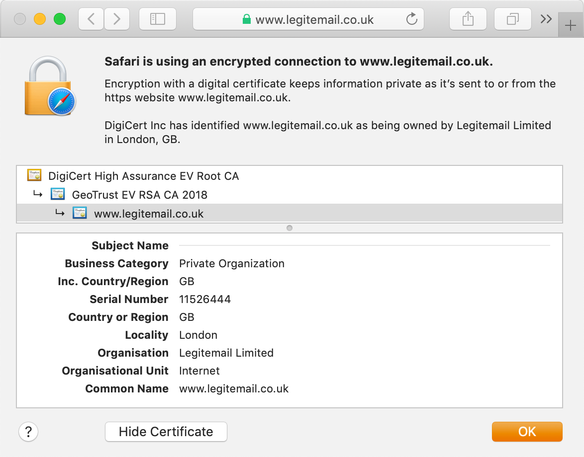View the GeoTrust True BusinessID EV certificate in the browser's address bar