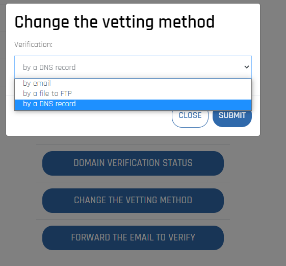 Change of the verification method