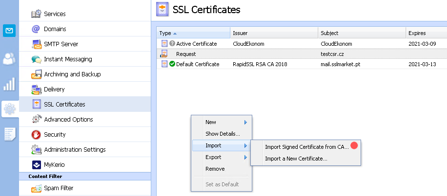 Kerio Connect - Import the certificate issued CA
