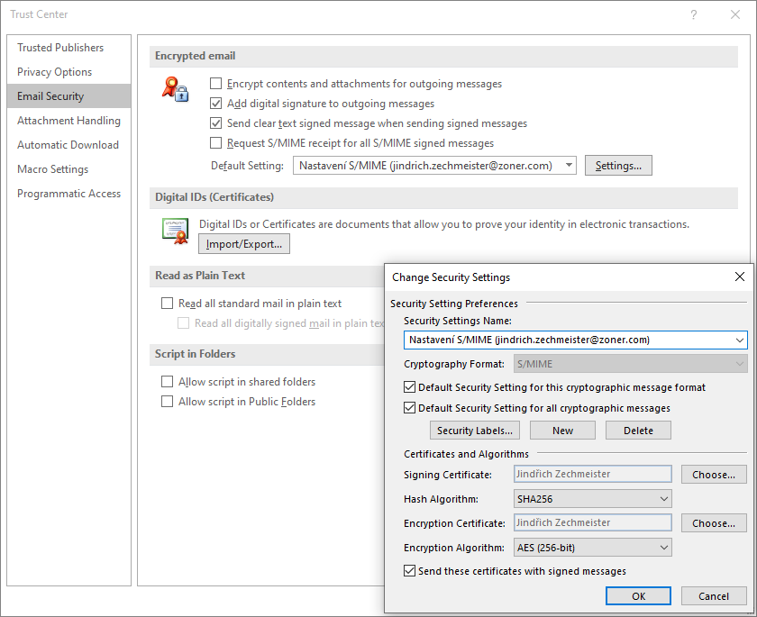 S/MIME certificate settings in Outlook
